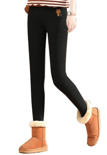 A-IN GIRLS black Elastic Waist Warm Casual Pants (Plus Cashmere) D08C6AA3CCCF5EGS_1