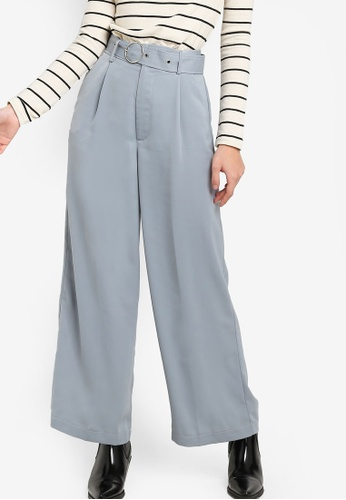 ZALORA 灰色 Wide Legged Pants With Metal Buckle 7B9D9AAFD43AF6GS_1