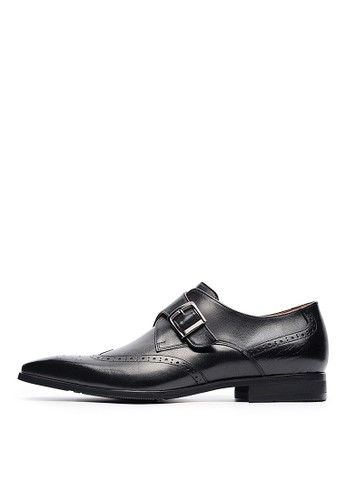 MIT好穿esprit tote bag快脫。打蠟牛皮金屬釦孟克鞋-04713-黑色, 鞋, 皮鞋