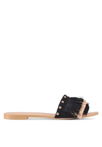 ZALORA 黑色 流蘇飾釘拖鞋 EFE33SH4136352GS_1