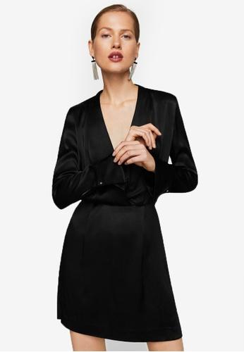 Mango black Wrapped Satin Dress MA193AA0S6J2MY_1