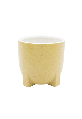At Home yellow and multi Milano Yellow Medium Ceramic Vase 33427HLBD3F243GS_1