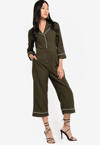 ZALORA green and multi Long Sleeves Contrast Trim Jumpsuit BDF0FAA394685CGS_1