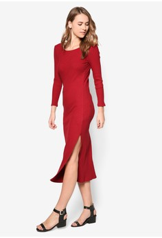 Basic Midi Bodycon Rib Dress
