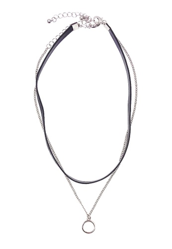 LUCCACAL silver 2 x Ring Pendant Layered Choker Necklace LU294AC84ICPMY_1