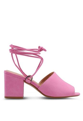 Public Desire pink Paddington Lace Up Block Heeled Mules 24BBASHE22221FGS_1