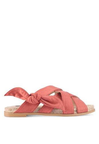 ZALORA pink Cross Strap & Bow Espadrille Sliders 16DAESH6462F8CGS_1