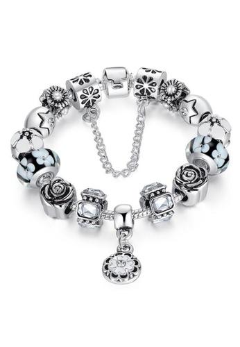 YOUNIQ black YOUNIQ Silver Charm Bracelet with Safety Chain Rhinestone Luxury Bijoux for Her Gift PA1854 (Black) YO999AC97LREMY_1