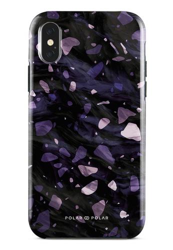 Polar Polar purple Lilac Terrazzo Gem Dual-Layer Tough Case Glossy For iPhone X / XS 6DE52AC16E72B9GS_1