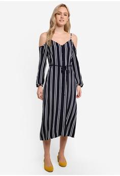 Stripe Cold Shoulder Dress