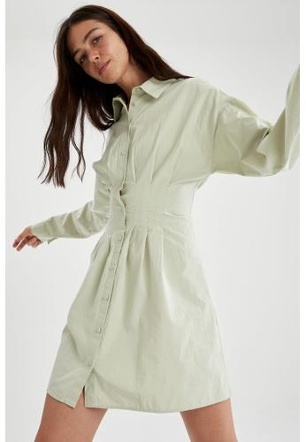 DeFacto green Long Sleeve Mini Dress 613D3AAEAB8271GS_1