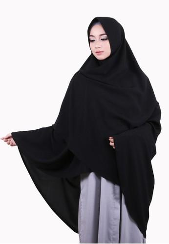 COTTON BEE black Khimar Celine Pet Hijab Syari Jilbab Jumbo Kerudung Muslim - Ink Black DF531AA4D29106GS_1