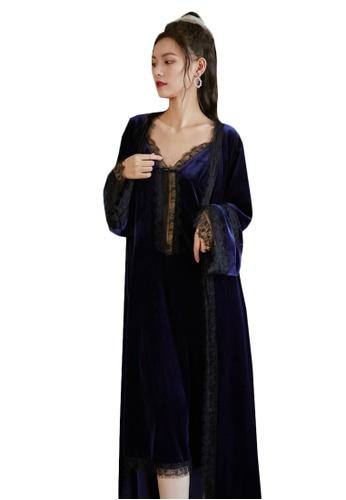 LYCKA blue LML1304-Lady Lace Pajamas Two Pieces Set-Blue EA3A7AA2D7F691GS_1