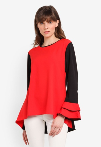 Aqeela Muslimah Wear red Bell Sleeve Top 81BF8AA2DDF72AGS_1