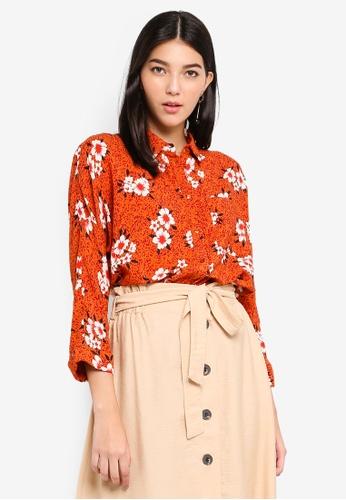 Pieces orange Selanie Long Sleeve Shirt 263B6AA1BED2ADGS_1