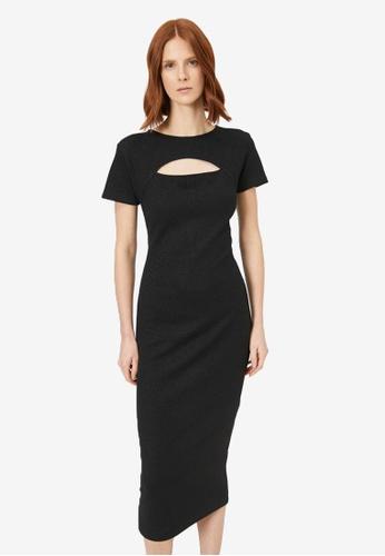 KOTON black Shimmer Cut Detailed Dress 189F2AA31230DAGS_1