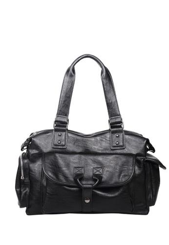 Lara black Top Handle Plain Zipper Shoulder Bag - Black 4DE4EAC46568BEGS_1