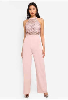 2e33c89522c WALG pink Crosshatch Detail Jumpsuit 944BCAA175262CGS 1