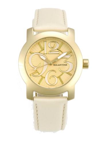EGLANTINE gold EGLANTINE® Sara Gold Plated Steel Quartz Watch on pastel yellow strap DBCB7ACFEFC531GS_1