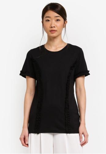 Dorothy Perkins black Black Frill Short Sleeve T-Shirt CB62FAA068FA60GS_1