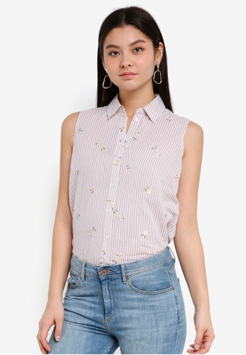 Dorothy Perkins pink Stripe Daisy Sleevless Shirt BF813AA07F8295GS_1