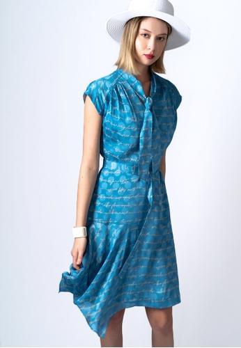 VIOLA blue TIE-COLLAR LETTER-PRINT DRESS C31F1AA8DB1BB4GS_1