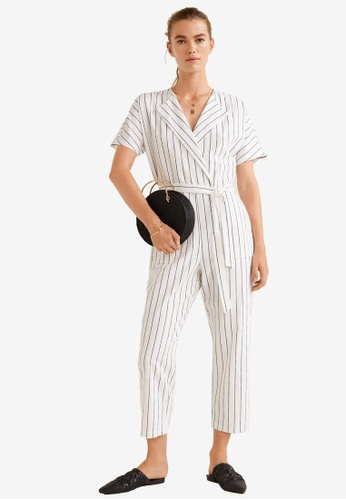 Mango white Striped Cotton Jumpsuit 2C326AAD767A2AGS_1