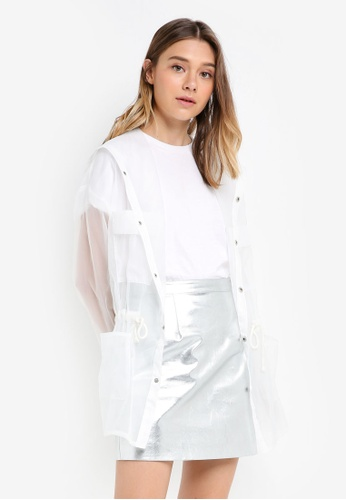 Something Borrowed white Sheer Oversized Parka 7865BAA4D6F6CDGS_1