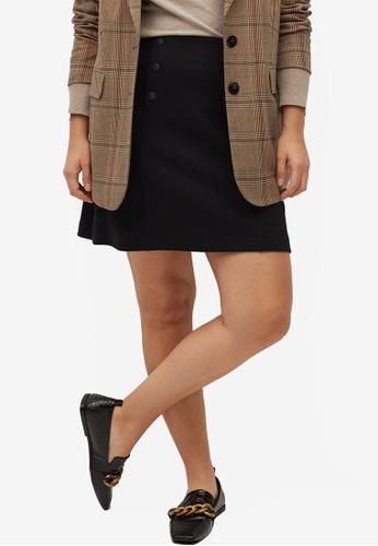 Violeta by MANGO black Plus Size Button Detail Mini Skirt A5B81AA81CE346GS_1