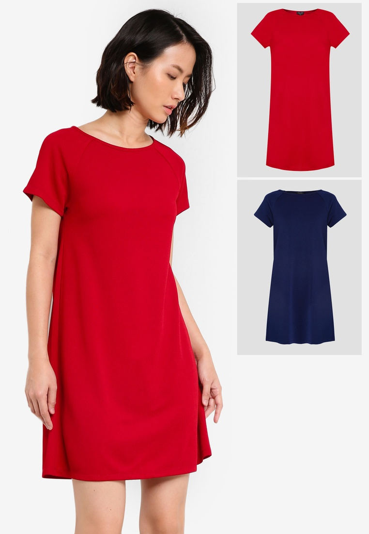 Navy Dress Shift ZALORA Essential 2 Sleeve pack Raglan Maroon BASICS Xq7xw68g