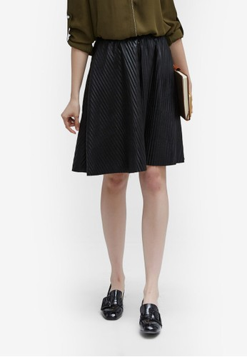 Hopeshow black Pu Pleated Skirt F7DE7AA35D7C11GS_1