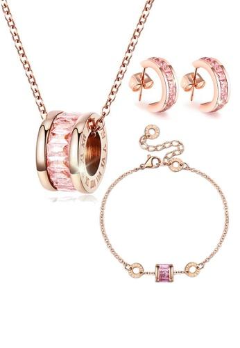 CELOVIS pink and gold CELOVIS - Oceane Pink Cryolite Necklace + Bracelet + Earrings Jewellery Set 9753EAC8B29395GS_1
