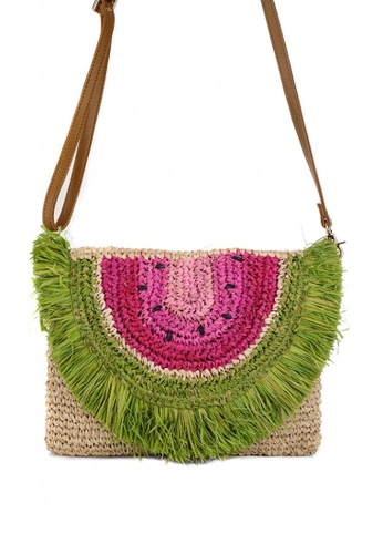 Style Cat brown and pink and green and multi and beige Maui Handmade Woven Watermelon Sling 53E87AC5704B46GS_1