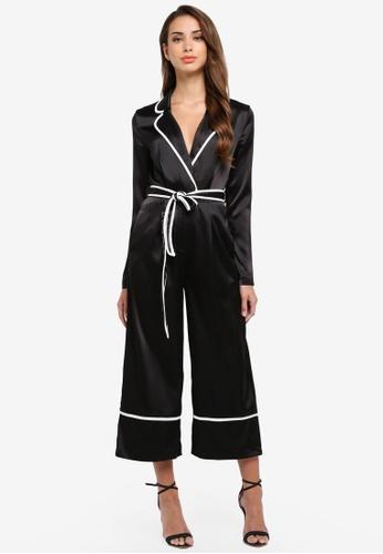 MISSGUIDED black Pyjama Contrast Culotte Jumpsuit 1D3D2AA78C8BC1GS_1