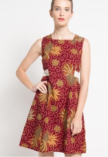 Rianty Batik red Dress Paula RI993AA31YJKID_1