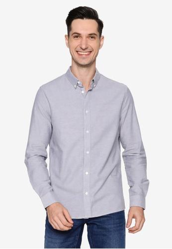 Burton Menswear London grey Grey Mist Long Sleeve Oxford Shirt F3956AA64F7189GS_1