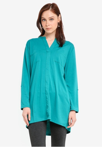 Zariya green Long Sleeve Tunic C9E1FAA4AFA3B7GS_1