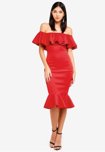 MISSGUIDED 紅色 露肩褶飾魚尾洋裝 CDE15AAAA658F7GS_1