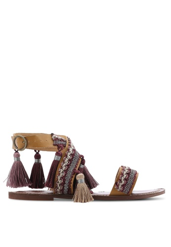 TOPSHOP multi Fiji Fringe Flat Sandals TO412SH99PVSMY_1