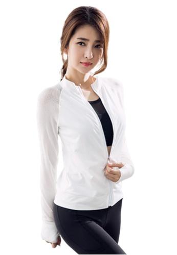 B-Code white ZYG3077-Lady Quick Drying Running Fitness Yoga Sports Jacket -White D7DEBAA29868CEGS_1