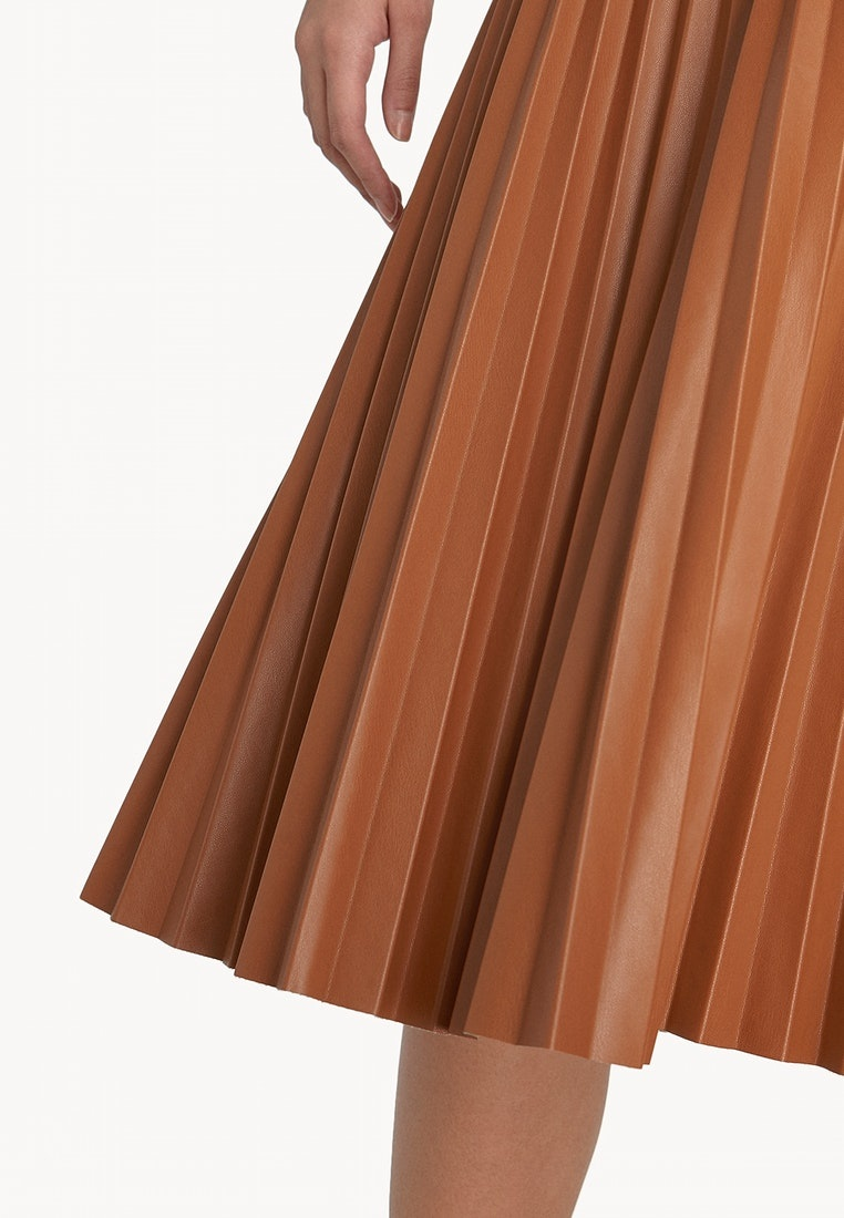 Brown Metallic Skirt Brown Pleat Pomelo nIBaqwP