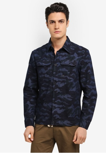 JAXON navy Camoflage Utility Shirt Jacket 77D8EAA41F4339GS_1