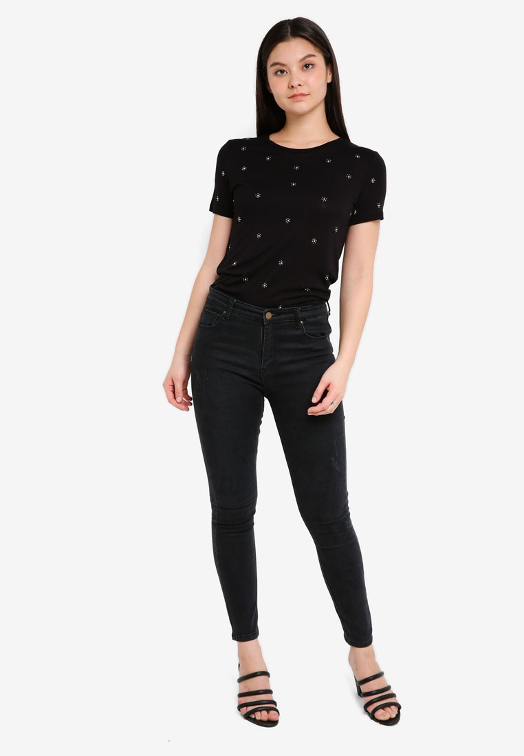 Dorothy Embellished Daisy Black Perkins T Black Shirt CrqCTwvz