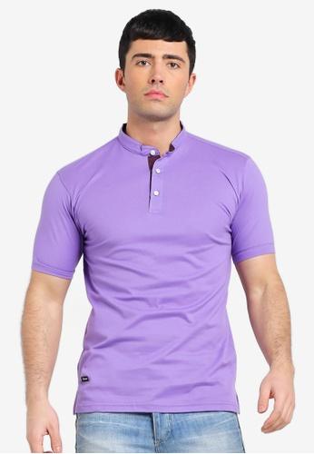d1cd8ef617 UniqTee purple Mandarin Collar Short Sleeve Polo Shirt E6C32AA94968CBGS 1