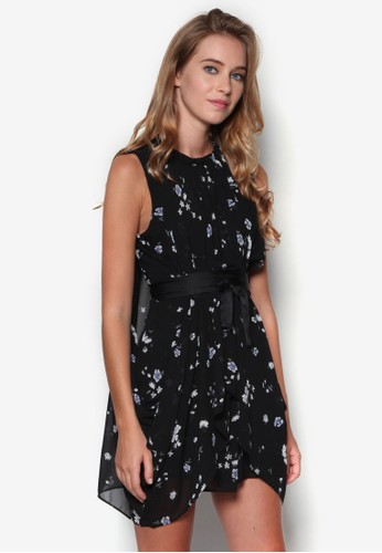 花卉不對稱裙擺繫帶連身裙, esprit 衣服服飾, 洋裝