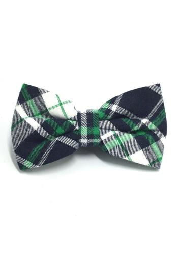 Splice Cufflinks Probe Series Green, Black and White Tartan Design Cotton Pre-tied Bow Tie SP744AC06QPLSG_1