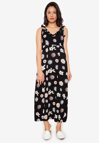 Purple Shore black Ruffles Long Dress 52789AA9E44042GS_1