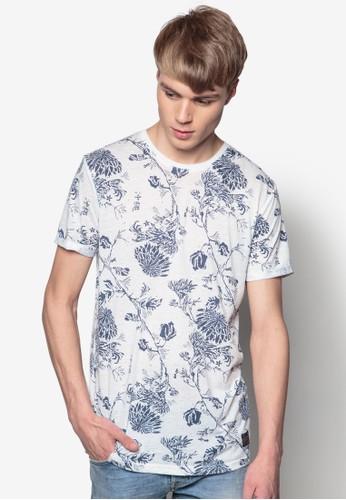 Broderick 花葉印花短袖TEE, 服飾, 印圖esprit 香港T恤