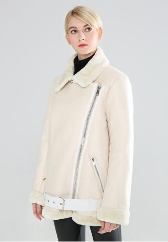 London Rag white Biker Jacket With Faux Fur Collar F248AAAB93A43BGS_1