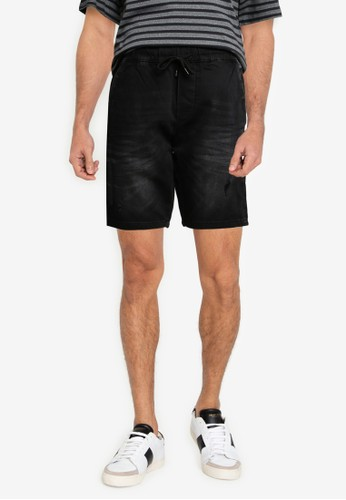 Only & Sons black Rod Distressed Denim Shorts FCD51AAC82E2E7GS_1